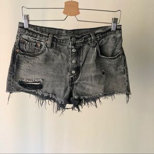 Levi's Black Exposed Button Fly 501 Cutoff Shorts